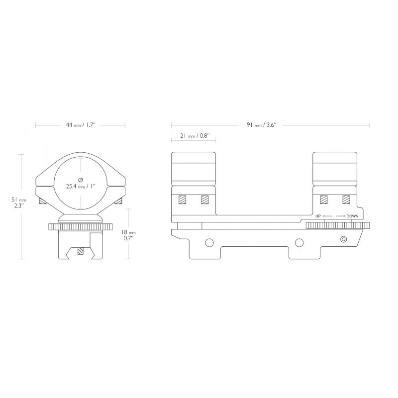 Hawke Adjustable 1 Inch 1 Piece 9 11mm High Mount